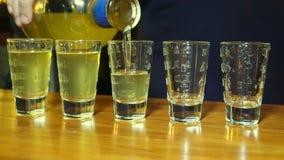 Alcohol de colada del camarero a los cinco tiros almacen de metraje de vídeo