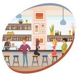 Alcohol de consumición de la gente en vector plano de la barra o del Pub libre illustration
