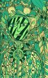 Alcohol de la flor - arte gr?fico de la tinta de la fantas?a Ilustraciones surrealistas de la historieta verde con la criatura fa stock de ilustración