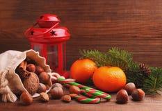 Alcohol de la Navidad: nueces, mandarinas, árbol de navidad, nueces, una linterna Foto de archivo