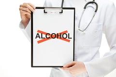 Alcohol de prohibición del doctor imagen de archivo