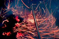 Alcohol del fuego en hoyo del Bbq imágenes de archivo libres de regalías