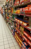 Alcohol department in supermarket Stock Photos