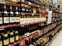 Alcohol department in supermarket Royalty Free Stock Photo
