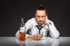 Alcohol dependence in men Royalty Free Stock Photo
