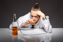 Alcohol dependence in men Royalty Free Stock Photography
