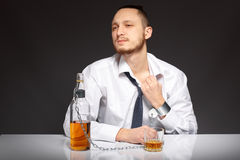 Alcohol dependence in men Royalty Free Stock Photos