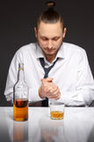 Alcohol dependence in men Royalty Free Stock Images