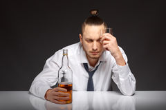 Alcohol dependence in men Royalty Free Stock Image