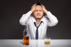 Alcohol dependence in men Stock Photos