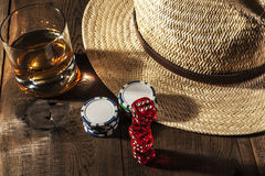 Alcohol and Dice Royalty Free Stock Images