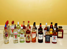 Alcohol display. Image of alcohols on display Royalty Free Stock Photo