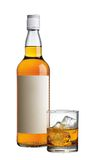 Alcohol drink. Blank label whisky with glass and ice Royalty Free Stock Image