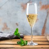 Alcohol drink, beverage, champagne sparkling wine in a flute glass. Food and drink, holidays party concept. Cold fresh alcohol beverage champagne sparkling white royalty free stock photo