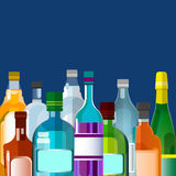 Alcohol Drink, Bottle Set Collection. Flat Vector Illustration Royalty Free Stock Photos