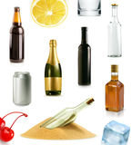 Alcohol drink in bottle, vector icons set Stock Image