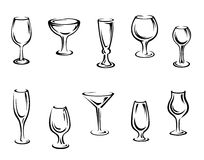 Alcohol and drink glasses Royalty Free Stock Photo