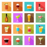 Alcohol drink glasses icons Royalty Free Stock Images