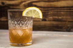 alcohol drink with lemon and ice Stock Photo