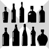 Alcohol Drink Set Black Silhouette Bottle Collection. White Background Vector Illustration Royalty Free Stock Photography