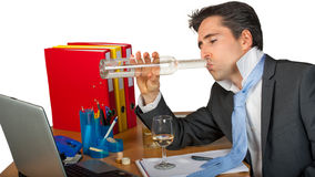 Alcohol drinking business man Royalty Free Stock Photos