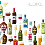 Alcohol drinks background design. Bottles, glasses for restaurants and bars Stock Image