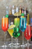 Alcohol Drinks on a Bar Stock Images