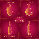 Alcohol Drinks.Bar Menu. Set of Hand-Drawn Bottles in Golden Frames isolated on Red. Glass Bottles with Cognac, Vodka, Champagne Royalty Free Stock Photography