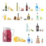 Alcohol drinks beverages cocktail appetizer bottle. Alcohol drinks beverages cocktail appetizer bottle lager refreshment container and menu snacks drunk Stock Image