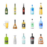Alcohol drinks beverages cocktail appetizer bottle lager container drunk different glasses vector illustration. Alcohol drinks beverages cocktail appetizer Royalty Free Stock Photos