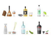 Alcohol drinks beverages cocktail appetizer bottle lager container drunk different snacks glasses vector illustration. Alcohol drinks beverages cocktail Royalty Free Stock Photos