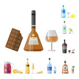 Alcohol drinks beverages cocktail appetizer bottle lager container drunk different snacks glasses vector illustration. Alcohol drinks beverages cocktail Royalty Free Stock Photo