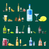Alcohol drinks beverages cocktail appetizer bottle lager container drunk different snacks glasses vector illustration. Alcohol drinks beverages cocktail Royalty Free Stock Image