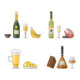 Alcohol drinks beverages cocktail appetizer bottle lager container drunk different snacks glasses vector illustration. Alcohol drinks beverages cocktail Royalty Free Stock Photography
