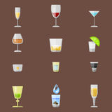 Alcohol drinks beverages cocktail appetizer lager container drunk different glasses vector illustration. Alcohol drinks beverages cocktail appetizer bottle Stock Image