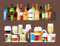 Alcohol drinks beverages cocktail bottle lager container drunk different glasses vector illustration. Stock Photo