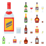 Alcohol drinks beverages cocktail bottle lager container drunk different glasses vector illustration. Alcohol drinks beverages cocktail whiskey bottle lager Royalty Free Stock Photography