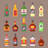 Alcohol drinks beverages cocktail bottle lager container drunk different glasses vector illustration. Alcohol drinks beverages cocktail whiskey bottle lager Royalty Free Stock Photos