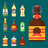Alcohol drinks beverages cocktail bottle lager container drunk different glasses vector illustration. Alcohol drinks beverages cocktail whiskey bottle lager Stock Photo