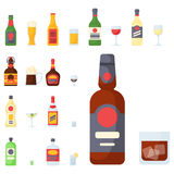 Alcohol drinks beverages cocktail bottle lager container drunk different glasses vector illustration. Alcohol drinks beverages cocktail whiskey bottle lager Stock Images