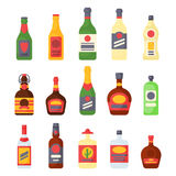 Alcohol drinks beverages cocktail bottle lager container drunk different glasses vector illustration. Alcohol drinks beverages cocktail whiskey bottle lager Stock Image