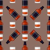Alcohol drinks beverages cocktail bottle seamless pattern lager container. Alcohol drinks beverages cocktail whiskey seamless pattern bottle lager refreshment Stock Image
