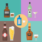 Alcohol drinks beverages cocktail card drink bottle lager refreshment container and menu drunk concept different bottle Stock Image