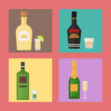 Alcohol drinks beverages cocktail card drink bottle lager refreshment container and menu drunk concept different bottle Royalty Free Stock Photo