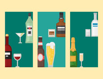 Alcohol drinks beverages cocktail card drink bottle lager refreshment container and menu drunk concept different bottle Stock Photos