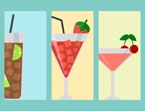 Alcohol drinks beverages cocktail lager card design drunk different glasses. Alcohol drinks beverages cocktail card design refreshment container and menu drunk Royalty Free Stock Images