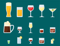 Alcohol drinks beverages cocktail lager container drunk different glasses vector illustration. Alcohol drinks beverages cocktail whiskey lager refreshment Stock Photo