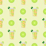 Alcohol drinks beverages cocktail seamless pattern lager container. Alcohol drinks beverages cocktail daiquiri lager refreshment container seamless pattern menu Royalty Free Stock Image