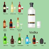 Alcohol drinks beverages cocktail bottle lager container drunk different glasses vector illustration. Alcohol drinks beverages cocktail whiskey bottle lager Stock Photography