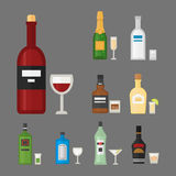 Alcohol drinks beverages cocktail whiskey drink bottle lager refreshment container and menu drunk concep different Stock Images